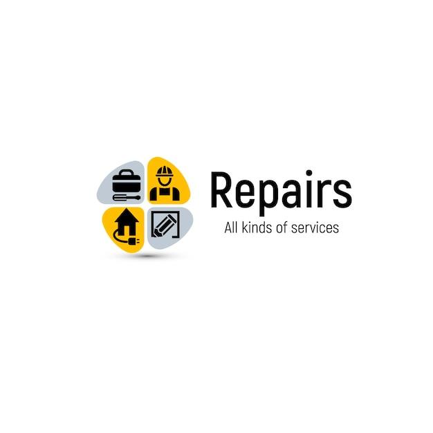 Logo Narzędzi Do Naprawy Domu. Ikona Usługi Remont Domu. Premium Wektorów