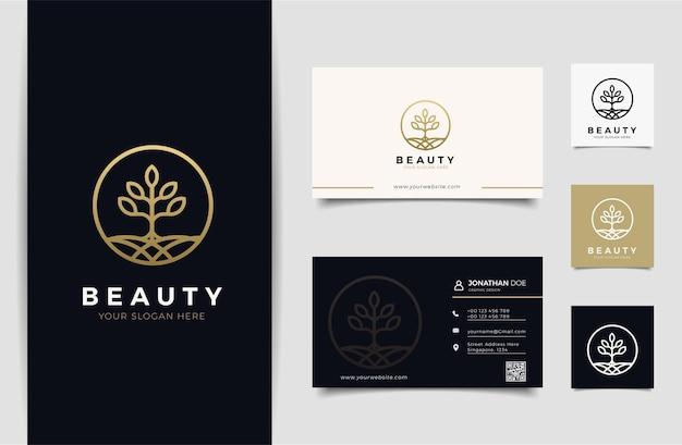 Logo Natury I Szablon Projektu Wizytówki, Uroda, Zdrowie, Spa, Premium Wektorów