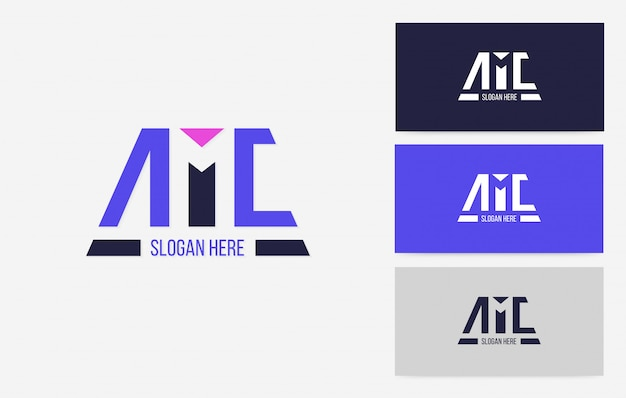 Logo Negatywnej Przestrzeni Amc, Wektor Koncepcji Marki Marki Sportu Premium Wektorów