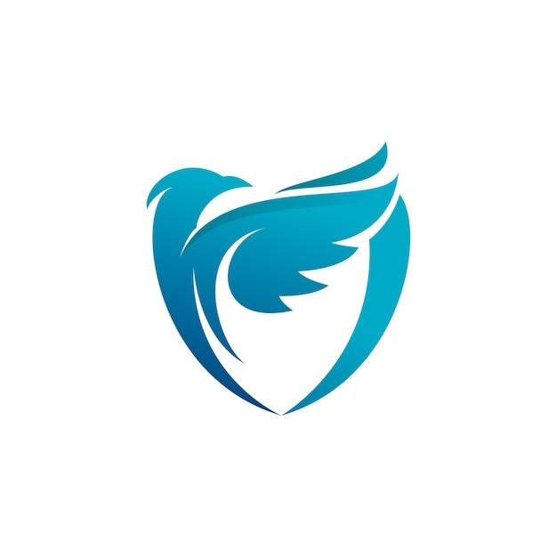Logo Niebieskiej Tarczy Ptaków Premium Wektorów