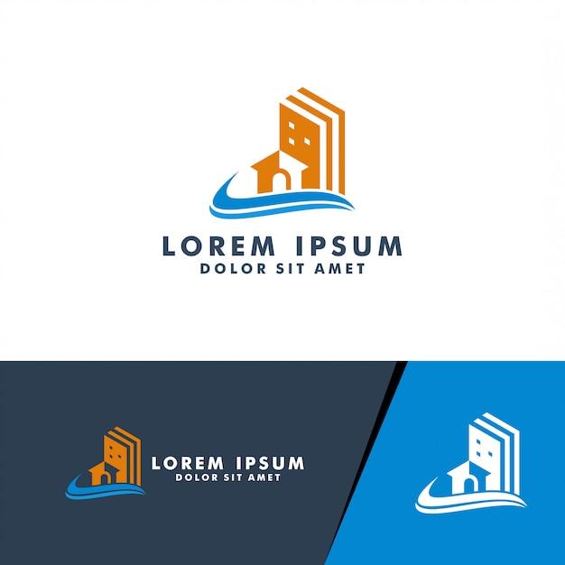 Logo nieruchomości, dom, logo domu projektowanie logo wektor dla budownictwa biznesu Premium Wektorów