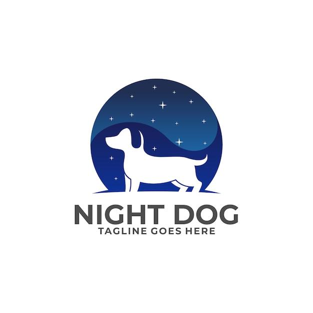 Logo night dog Premium Wektorów