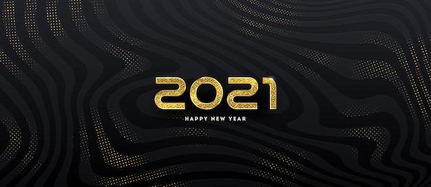 Logo Nowego Roku. Pozdrowienie Projekt Z Złoty Numer Roku Na Czarnym Tle. Premium Wektorów