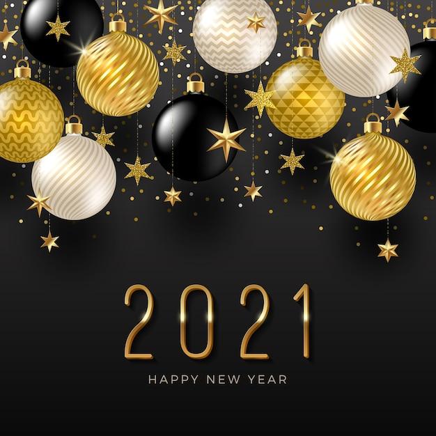 Logo Nowego Roku Z Dekoracjami świątecznymi. Powitanie Projekt Ze Złotymi Bombkami I Gwiazdami. Premium Wektorów