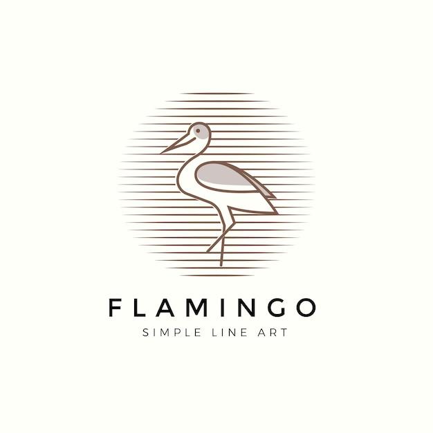 Logo Nowoczesnej Linii Flamingo Premium Wektorów