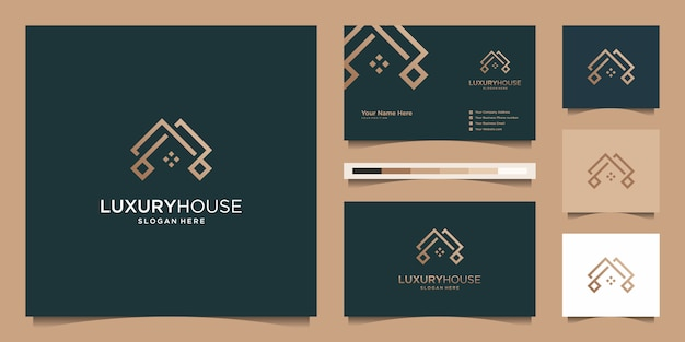 Logo Nowoczesny Dom Dla Budownictwa, Domu, Nieruchomości, Budynku, Nieruchomości. Minimalny Niesamowity Modny Szablon Profesjonalnego Logo I Projekt Wizytówki Premium Wektorów