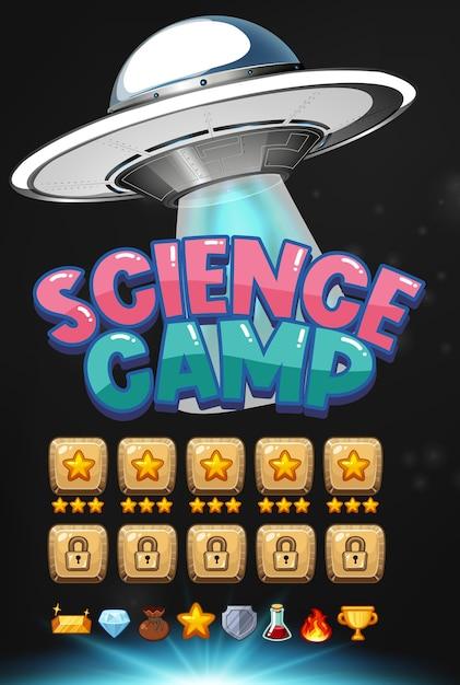 Logo Obozu Naukowego Ze Sceną Tła Gry Ufo Premium Wektorów