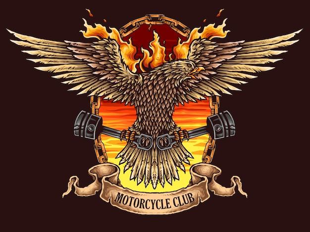 Logo Odznaka Motocykl Orzeł Premium Wektorów