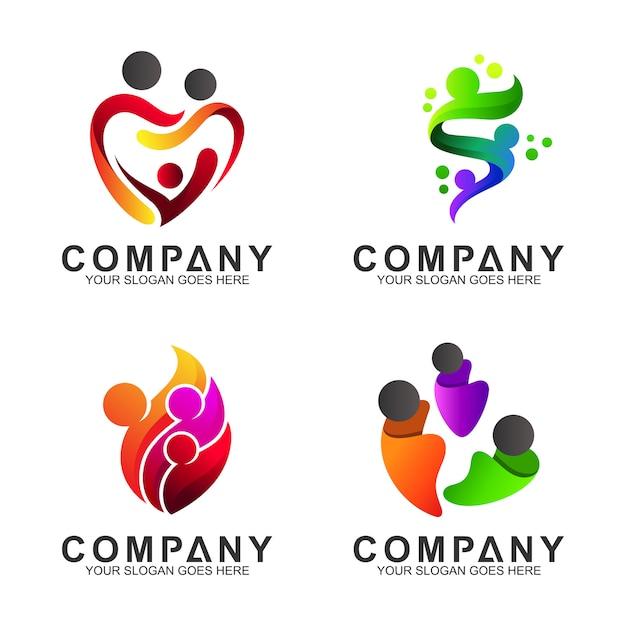 Logo opieki rodzinnej Premium Wektorów