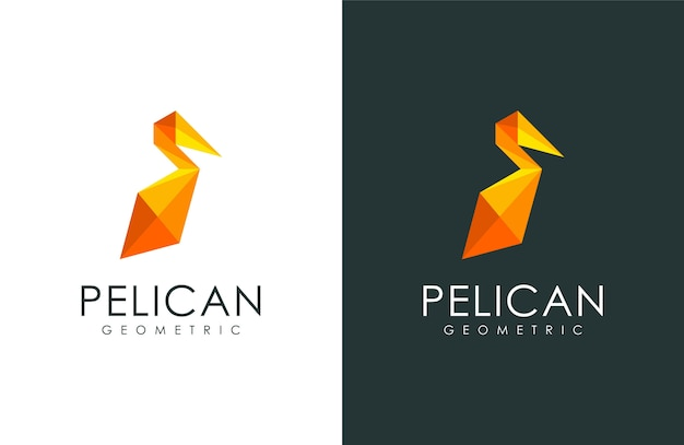 Logo Pelikanów, Ilustracja Zwierząt W Nowoczesnym Stylu Geometrycznym Premium Wektorów