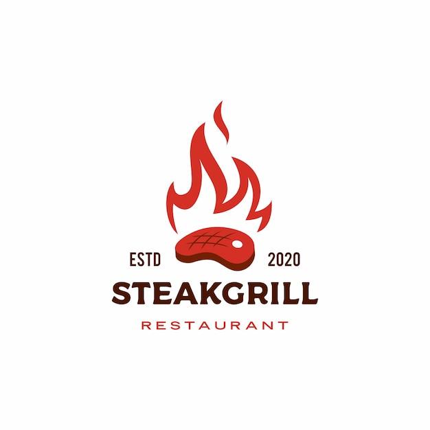 Logo Pieczonego Ognia Płomień Grill Stek Premium Wektorów