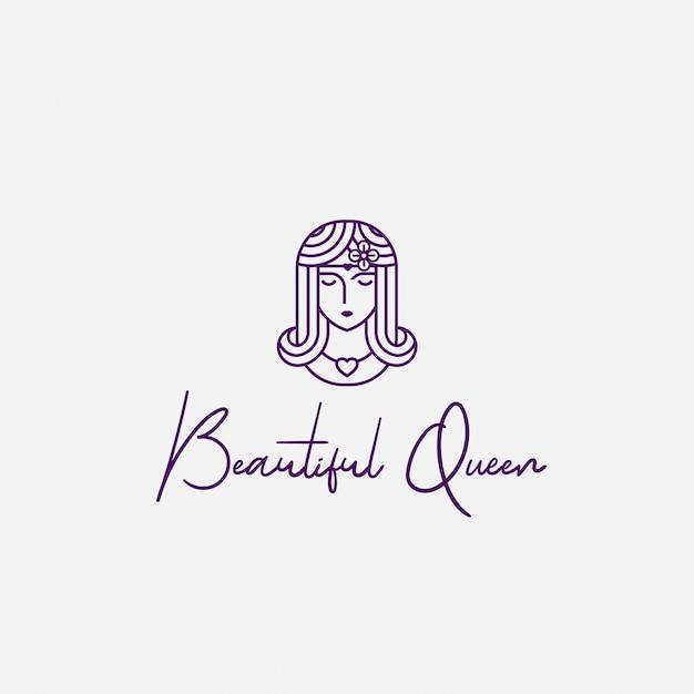 Logo Piękna Królowa Ze Stylem Graficznym Premium Wektorów