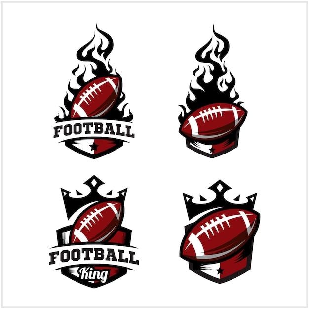 Logo piłki futbolowej i logo króla Premium Wektorów