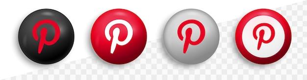 Logo Pinterest W Okrągłym Nowoczesnym Kręgu Dla Ikon Mediów Społecznościowych Premium Wektorów