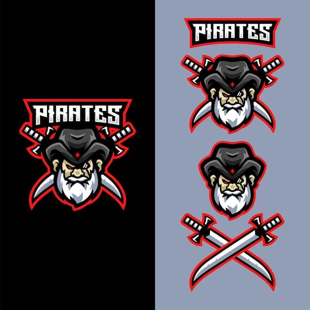 Logo Pirates Mascot Dla Drużyny E-sportowej Zajmującej Się Grami Sportowymi Premium Wektorów