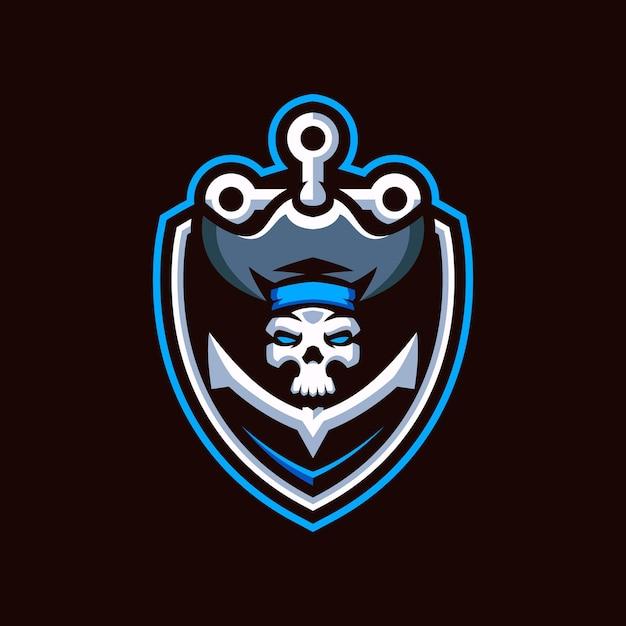 Logo Piratów Skull Esports Premium Wektorów