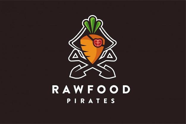 Logo piratów z surowej żywności, marchewkowego pomidora Premium Wektorów