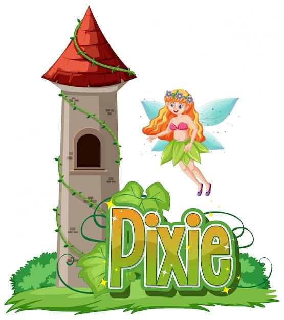 Logo Pixie Z Małe Wróżki Na Białym Tle Darmowych Wektorów