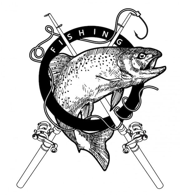 Logo Połowów Ręcznie Rysunek I Szkic Czarno-białe Z Ilustracja Linia Sztuki Na Białym Tle Premium Wektorów