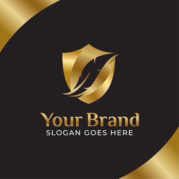 Logo Prawa Złotego Pióra, Kancelaria Prawna, Kancelaria Prawnicza, Atrament Z Piór Z Koncepcjami Tarczy Premium Wektorów