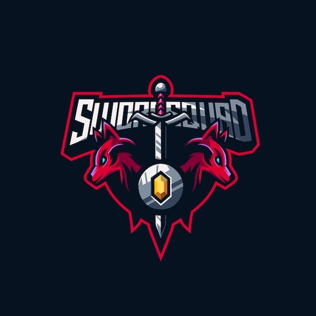 Logo premium w składzie miecza Premium Wektorów
