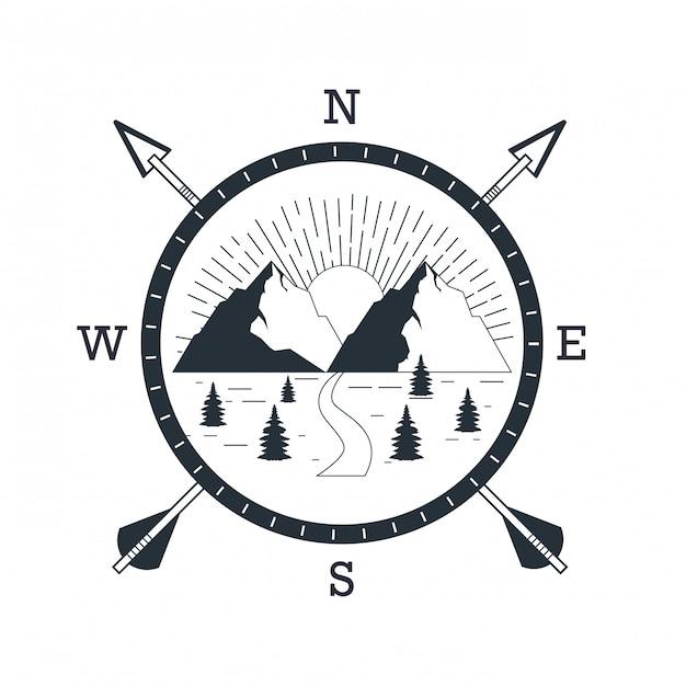 Logo przygody górskiej Premium Wektorów