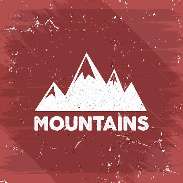 Logo przygody na świeżym powietrzu z górami retro. Premium Wektorów