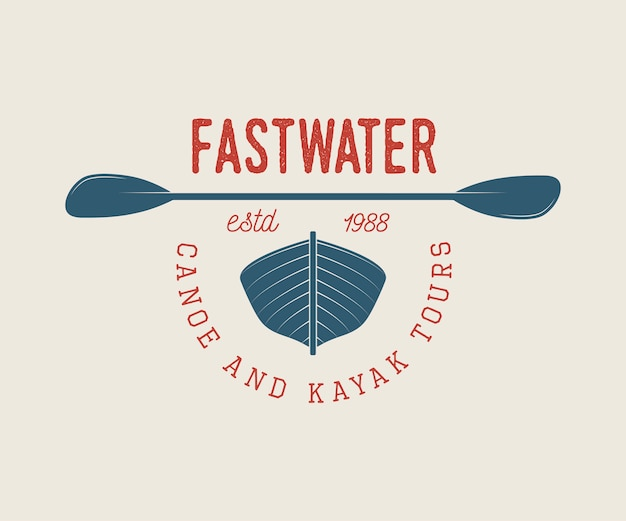 Logo raftingu lub łodzi Premium Wektorów