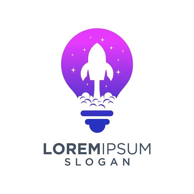 Logo rakiety w żarówki Premium Wektorów