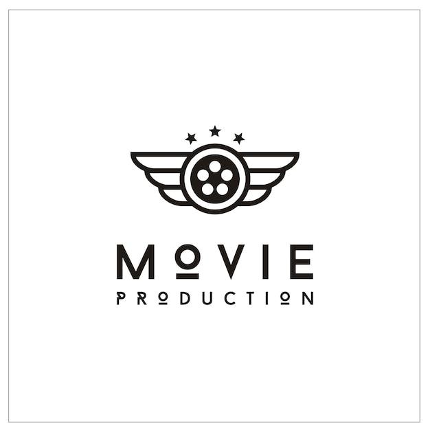 Logo Reel Film I Wings For Movie Production Premium Wektorów