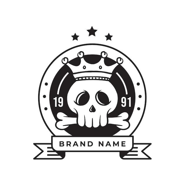 Logo Retro Czaszki Króla Dla Biznesu I Społeczności Premium Wektorów