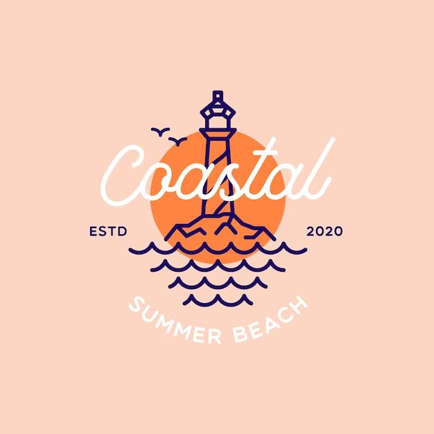 Logo Retro Latarnia Morska Na Plaży Latem Premium Wektorów