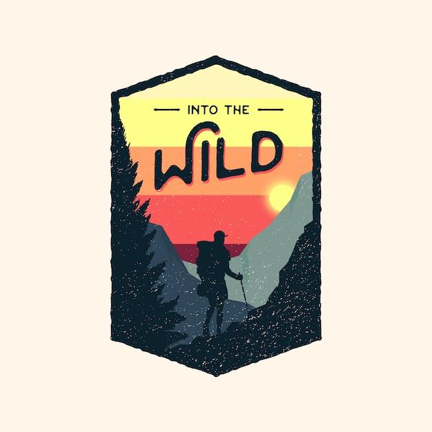 Logo Retro Odznaka Kolorowe Dzikiej Przygody Premium Wektorów
