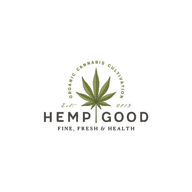 Logo Retro Vintage Konopi Marihuany Konopi Premium Wektorów