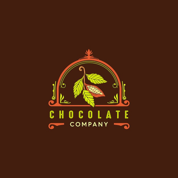 Logo rocznika cacao Premium Wektorów