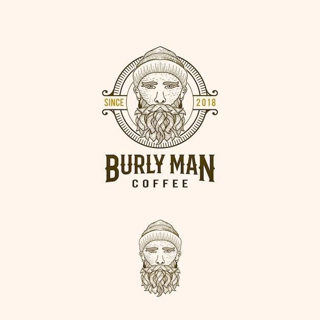 Logo Rocznika Kawy Burlyman Premium Wektorów