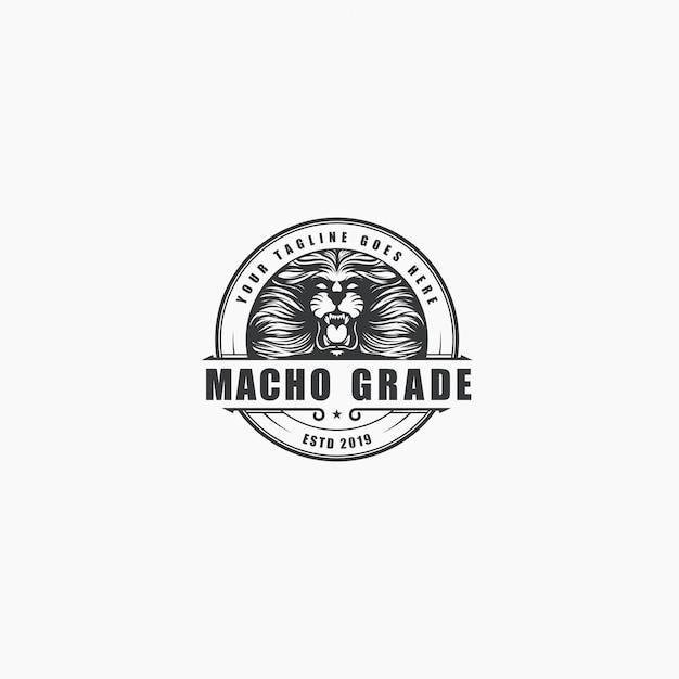 Logo rocznika luksusowy lew ryk Premium Wektorów
