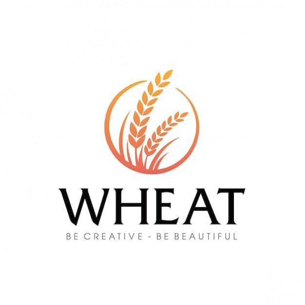 Logo rolnictwa pszenicy Premium Wektorów