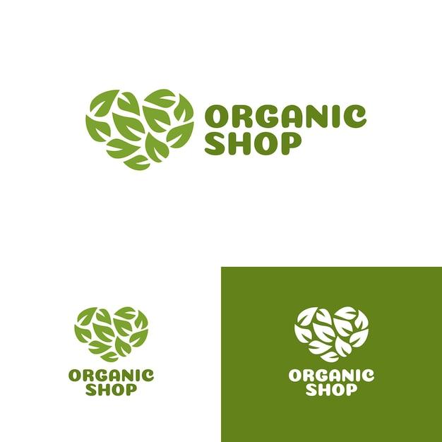 Logo Sklepu Ekologicznego Z Zielonym Sercem Składającym Się Z Zestawu Liści Premium Wektorów