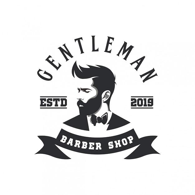 Logo sklepu fryzjerskiego dżentelmena Premium Wektorów