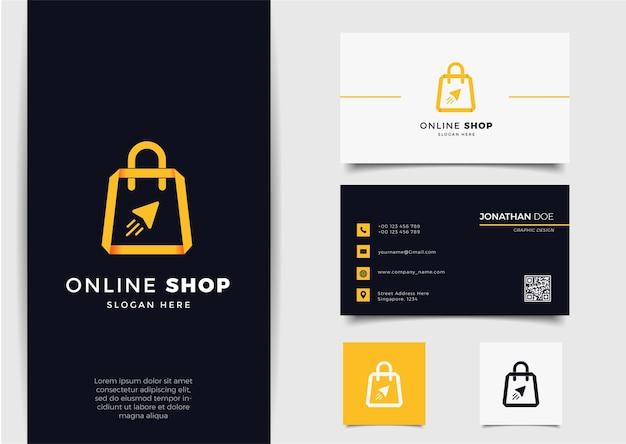 Logo Sklepu Internetowego Ze Strzałką W Stylu Gradientu Linii I Szablonem Projektu Wizytówki Premium Wektorów