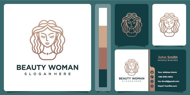 Logo Spa Uroda Kobieta Luksus Z Szablonu Wizytówki Premium Wektorów