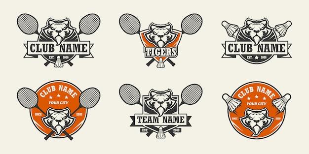 Logo Sportowe Głowy Tygrysa. Zestaw Logo Badmintona. Premium Wektorów