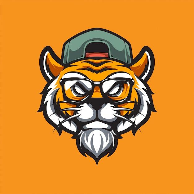 Logo Sportowe Hipster Tiger E. Premium Wektorów