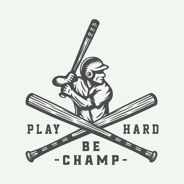 Logo sportowe w stylu vintage baseball Premium Wektorów