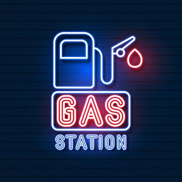 Logo Stacji Benzynowej Na ścianie Z Cegły Premium Wektorów