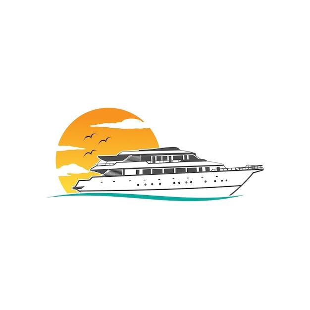 Logo Statku Wycieczkowego Premium Wektorów
