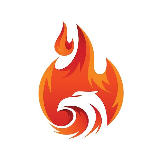 Logo Streszczenie Orzeł Ognia Premium Wektorów
