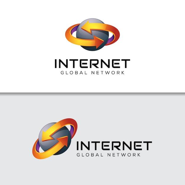 Logo Strzałki Danych Internetowych, Szablon Globalnego Logo Firmy Logistyczne Premium Wektorów