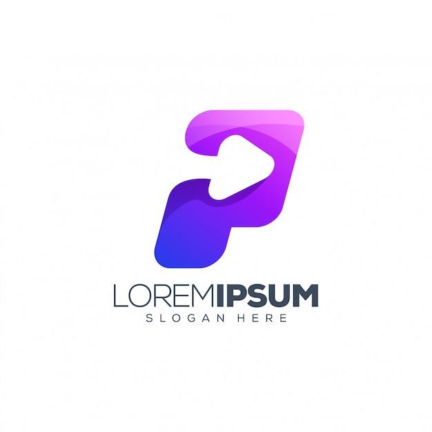 Logo strzałki litera p. Premium Wektorów